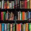 Three rows of colourful books on a bookshelf