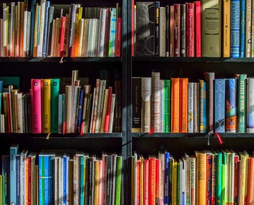Colourful books on a bookshelf